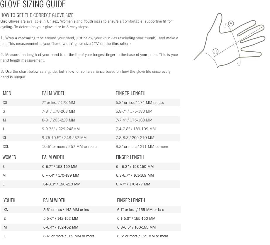 Giro Gloves Sizing Chart